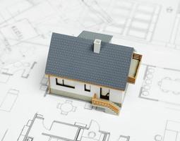 House on blueprint photo