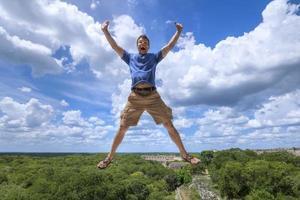 Thrilled tourist in Maya culture