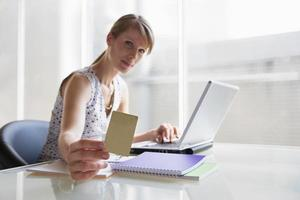 Woman holding card photo