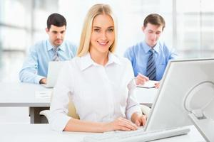 Cute businesswoman in an office photo