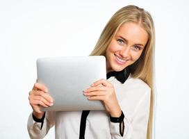 femme affaires, à, tablette, informatique