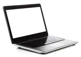 computadora portátil con pantalla negra en blanco foto