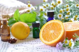 aromatherapy treatment with fruits and herbs photo