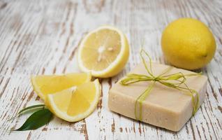 Piece of handmade lemon soap