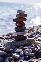Stones balance vintage pebbles stack background .