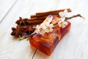 Spa setting with  natural  handmade   soap
