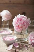 pink flower salt peony for spa and aromatherapy photo