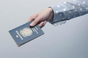 Caucasian Woman holding a brazilian passport