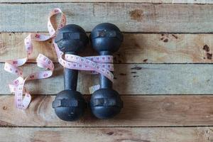 Old dumbbells with measuring
