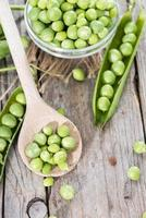 Fresh Peas on a cooking spoon photo