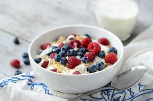 Healthy breakfast with yogurt and fresh fruits
