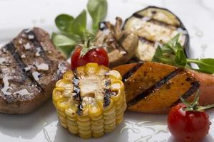grilled meat with grilled vegetables