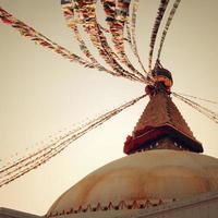 Buddhist shrine Boudhanath Stupa - vintage filter. Kathmandu, Nepal.