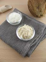 Coconut flour and grated coconut photo