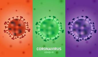 Coronavirus Infection Poster with Three Colorful Sections vector