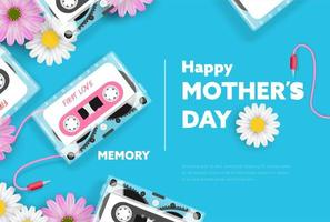 Mother's Day Banner with Tape Cassette and Flowers