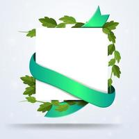 White square paper with foliage and green ribbon