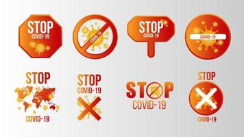 Stop Covid-19 Sign Set vector