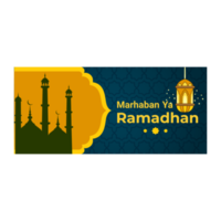 Blue and Yellow Ornate Ramadan Banner with Mosque