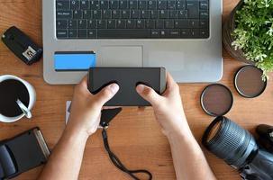 desktop with photography equipment