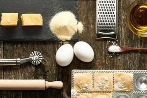 Utensils and ingredients for ravioli photo