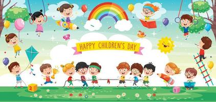 Cute Children Playing in Abstract Nature vector