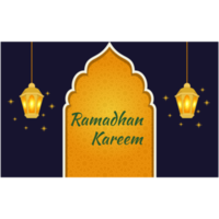 Blue Ramadan greeting card with glowing lanterns