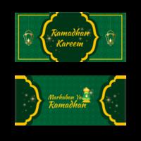 striscioni ornati ramadan kareem in verde e giallo