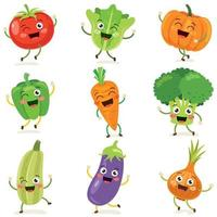 Set of Happy Cartoon Vegetables  vector