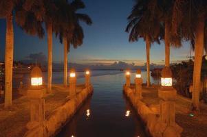 Canal de Aruba vista nocturna sitio romántico.