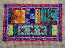 Brightly coloured embroidery.