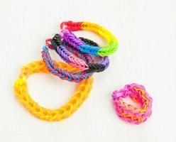 multicoloured elastic loom band bracelets