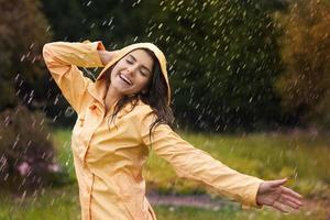 Happy woman enjoying in nature photo