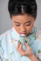 Enjoying asian tea ceremony