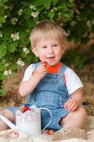 Little boy in the summer with strawberries photo