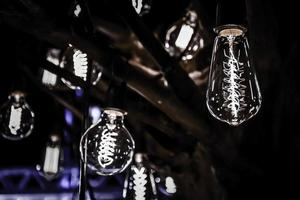 Lighting bulb decoration on tree