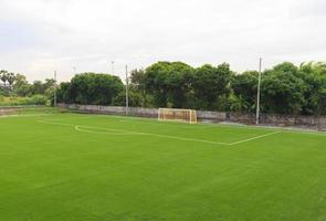 Artificial grass soccer field photo