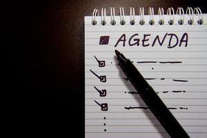 agenda en la reunión