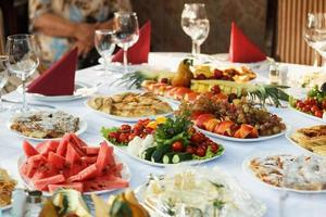 Celebrate banquet table with food photo