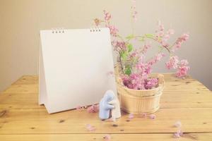Blank calendar on wood. photo