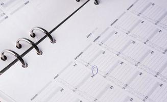 calendario de agenda de negocios abierto