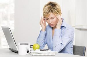 Woman, business and stress.