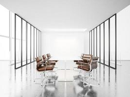 White meeting room with panoramic windows. 3d render