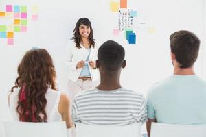 Smiling businesswoman presenting at group
