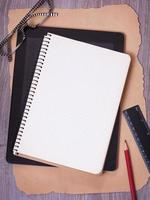 Notebook, tablet and office supplies photo