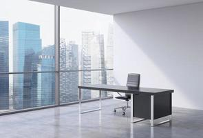 workplace in a modern panoramic office,