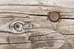 Fondo de madera con clavo oxidado foto