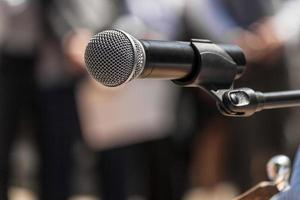 Microphone at a rally closeup photo