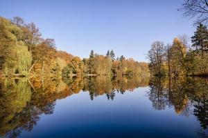 panorama of autumn trees at a glassy lake photo