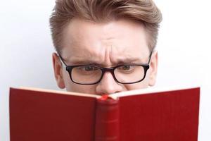 Smart guy involved in reading photo